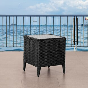 Deadra Wide Patio Wicker Side Table