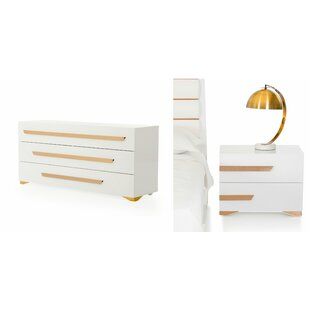 Willa Arlo Interiors Eloisa 3 Drawer Dresser with 2 Nightstands