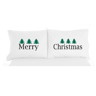 Micro Flannel® Merry Christmas Novelty Print Pillowcase Pair