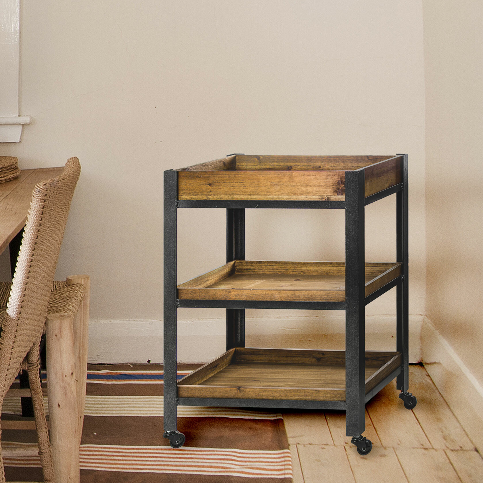 Newquay Wood Metal Rolling Storage With Shelves Bar Cart
