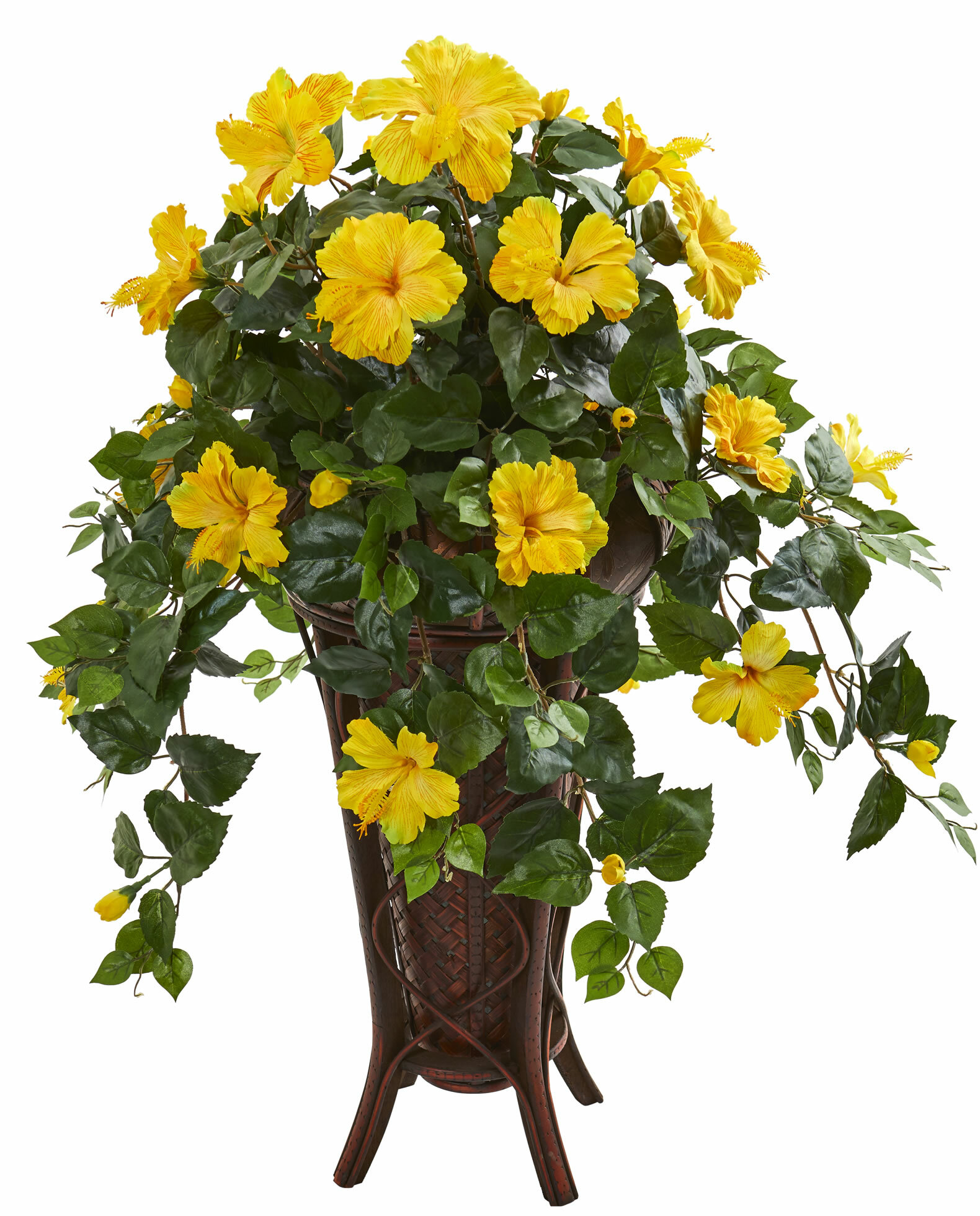Darby Home Co Artificial Hibiscus Floral Arrangement In Stand