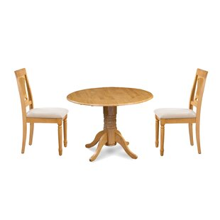 Kelston Mills 3 Piece Drop Leaf Solid Wood Dining Set Alcott Hill