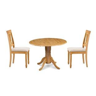 Kelston Mills 3 Piece Drop Leaf Solid Wood Dining Set