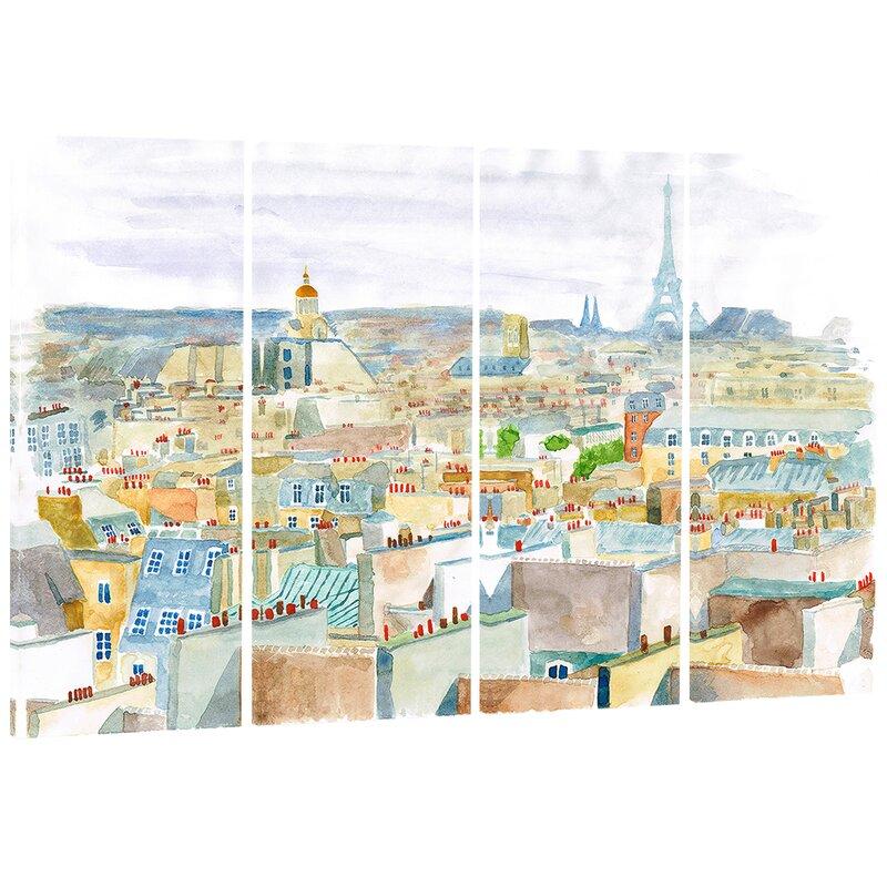 Designart City Of Paris Cityscape 4 Piece Painting Print On Wrapped Canvas Set Wayfair