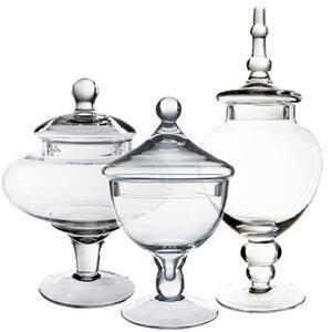 Glass Candy Buffet 3 Piece Apothecary Jar Set