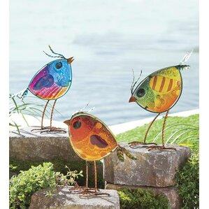 Colorful Glass Bird 3 Piece Statue Set
