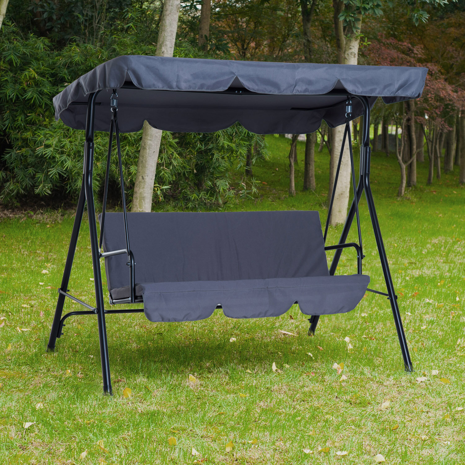 Freeport Park Higham Steel Fabric Outdoor Canopy Porch Swing