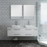Lucera 60 Wall Hung Double Vessel Sink Bathroom Vanity by Fresca