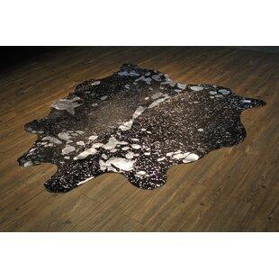 Reviews Parise Premium Hand-Woven Cowhide Silver/Black Area Rug ByUnion Rustic