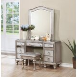 Mazur Vanity Set with Stool and Mirror by Rosdorf Park
