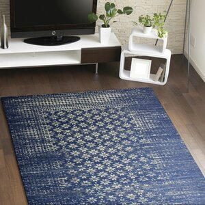 Woodrow Machine Woven Polypropylene Dark Blue Area Rug