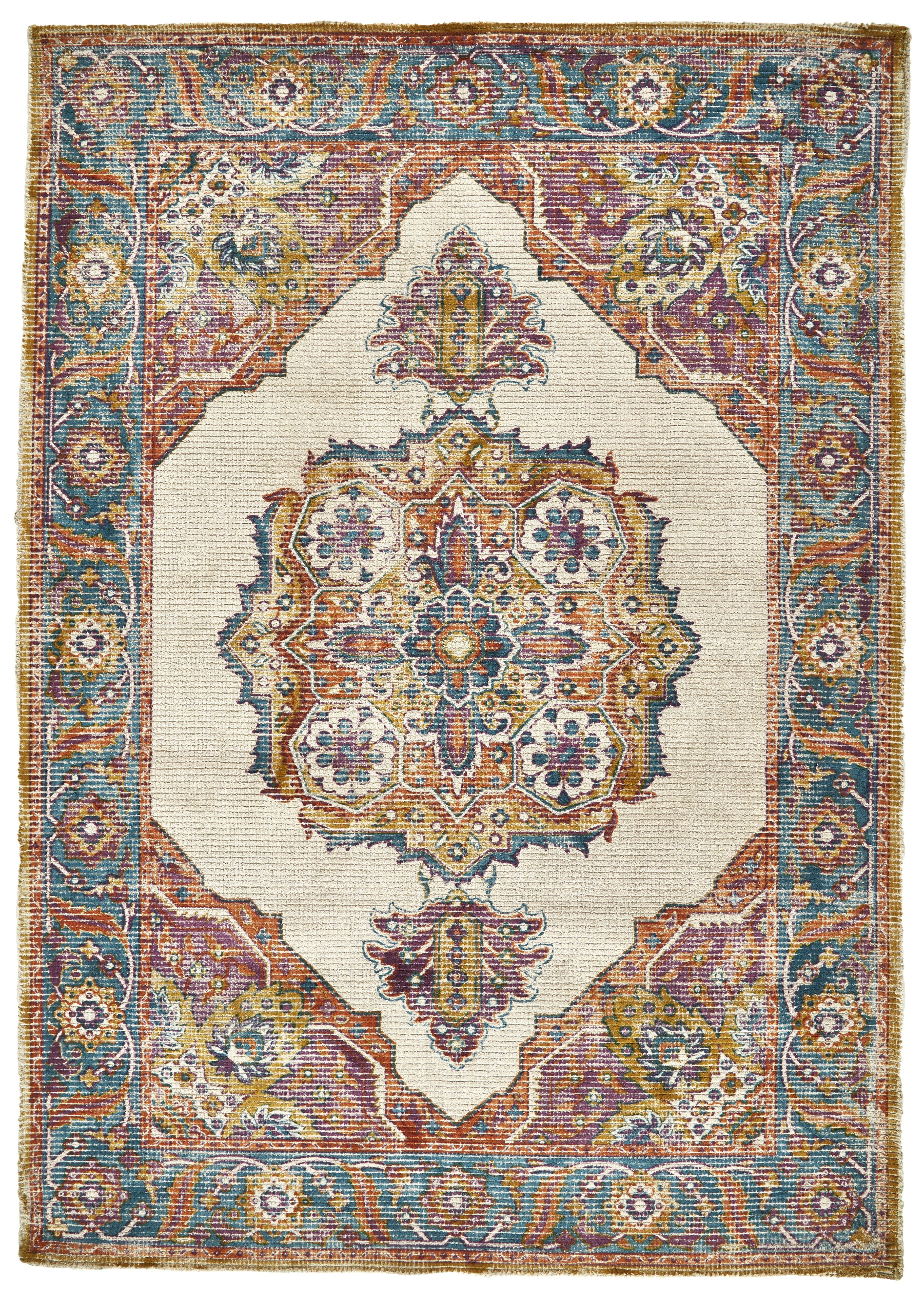 Bungalow Rose Grayson Hand Tufted Blue Yellow Red Area Rug Wayfair