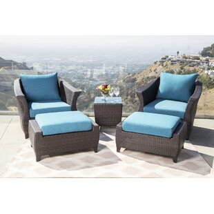 Lemanski Outdoor 5 Piece Rattan Conversation Set with Cushion