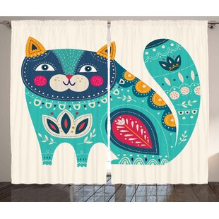 Aisha Smiling Cat Graphic Print & Text Semi-Sheer Rod Pocket Curtain Panels (Set of 2) by Zoomie Kids