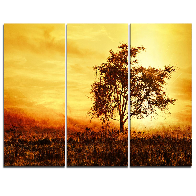 Designart African Tree Silhouette 3 Piece Graphic Art On Wrapped Canvas Set Wayfair