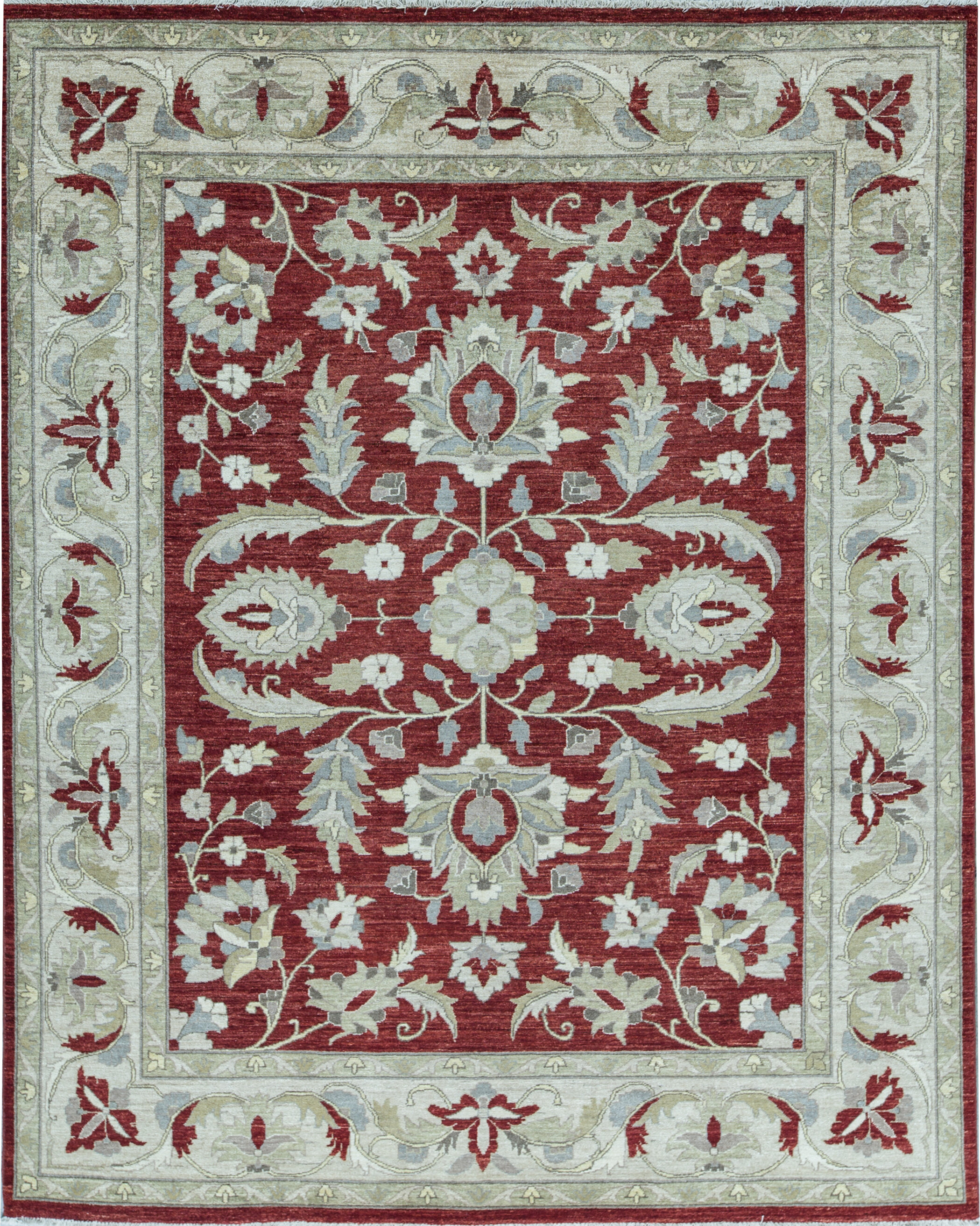 Bokara Rug Co Inc Zarbof Oriental Hand Knotted Wool Red Area Rug