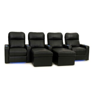 Contemporary Leather Home Theater Sofa (Row of 4) ByRed Barrel Studio