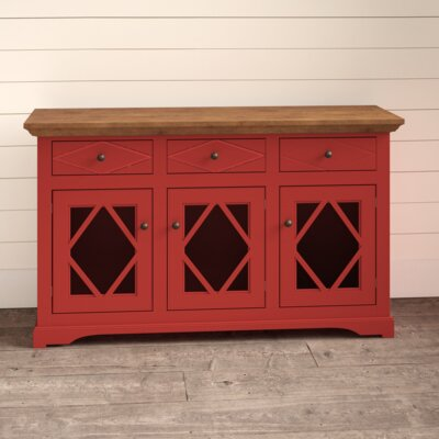 """Birch Lane Fraire 54.5"""" Wide 2 Drawer Sideboard  Base Color: Iron Ore, Top Color: Concord Cherry"""