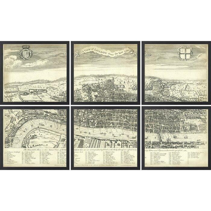 Art Virtuoso \'Segmented Map of London\' 6 Piece Framed Graphic Art ...