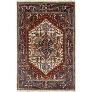 One-of-a-Kind Briggs Hand-Knotted Cream/Dark Red Area Rug