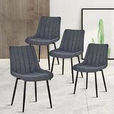 Hamner Linen Upholstered Side Chair in Black (Set of 4) by 17 Stories
