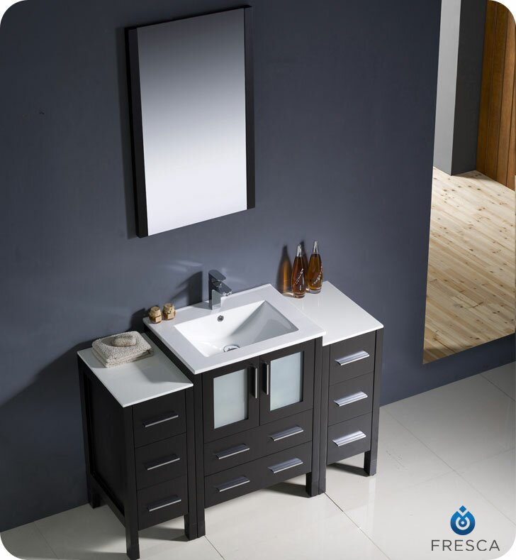 "Modern Bathroom Vanities Pompano Beach fresca torino 54"" single modern bathroom vanity set with mirror"