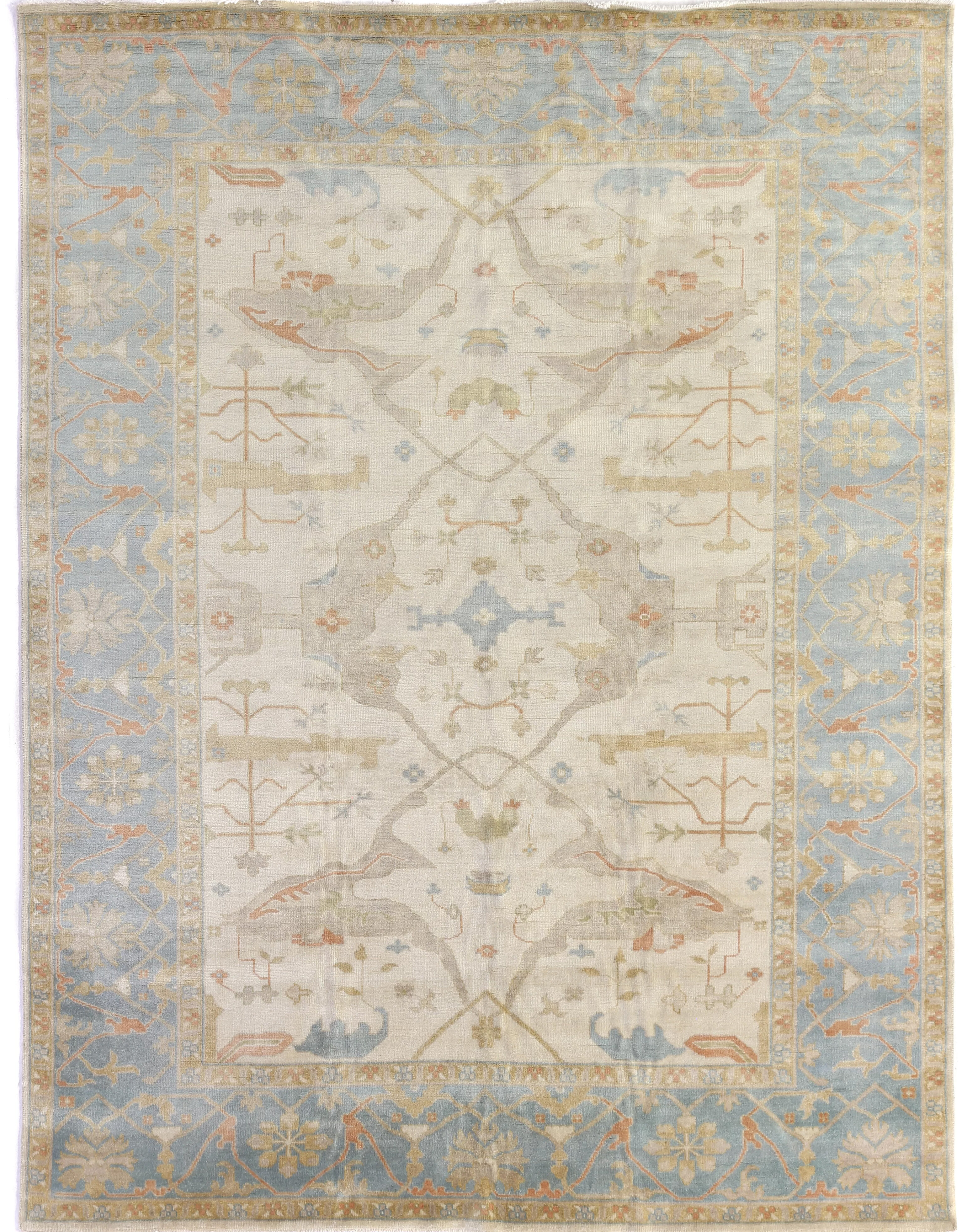 Exquisite Rugs Oushak Oriental Hand Knotted Wool Ivory Blue Area Rug Reviews Wayfair