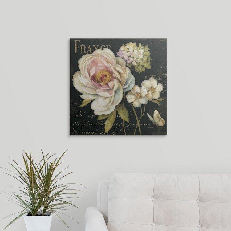 """/""""Marche de Fleurs on Black/"""" Canvas Art Print"""