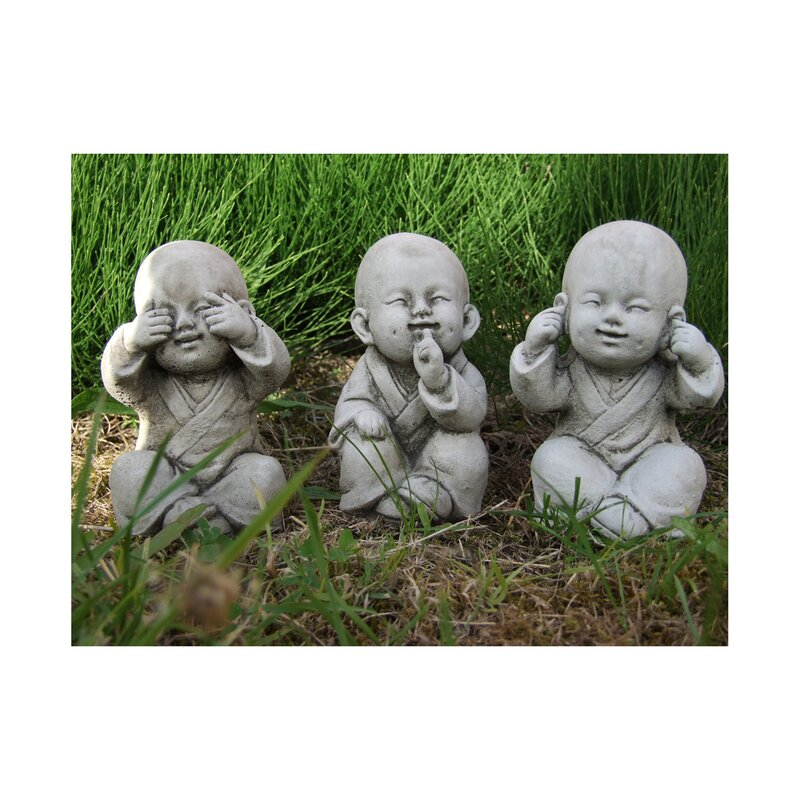 3 piece wise monks buddha garden statue set - Buddha Garden