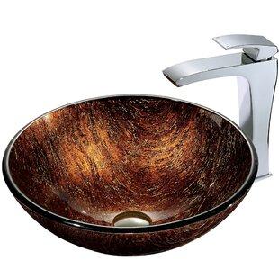 Find Glass Sink Glass Circular Vessel Bathroom Sink with Faucet By VIGO
