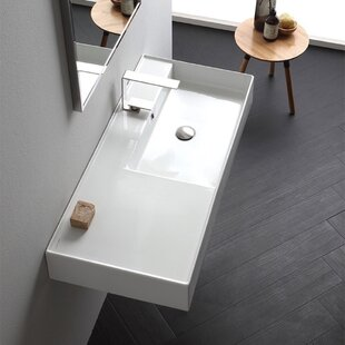 Bargain Ceramic 48'' Wall Mounted Bathroom Sink with Overflow ByScarabeo by Nameeks