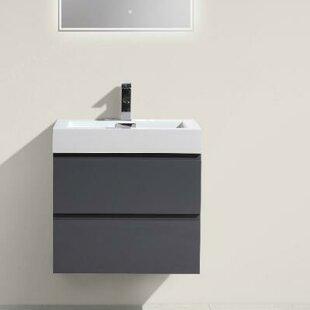 Reviews Leni 24 Wall-Mounted Single Bathroom Vanity Set ByOrren Ellis