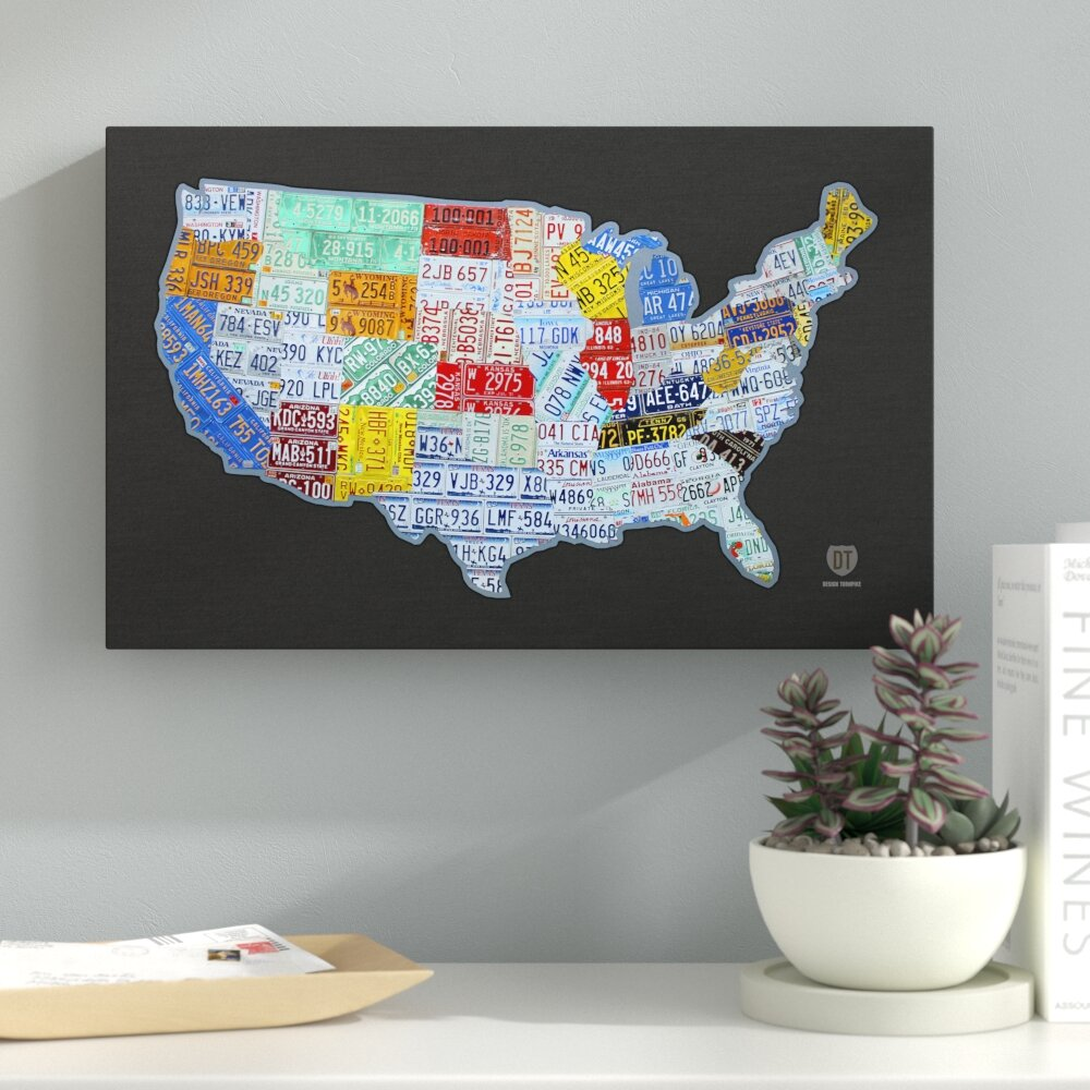 Latitude Run Massive USA License Plate Map by Design Turnpike ...