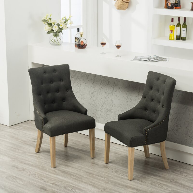 Laurel Foundry Modern Farmhouse Miles City Button Tufted Wingback Hostess Upholstered Dining Chair (Set of 2)