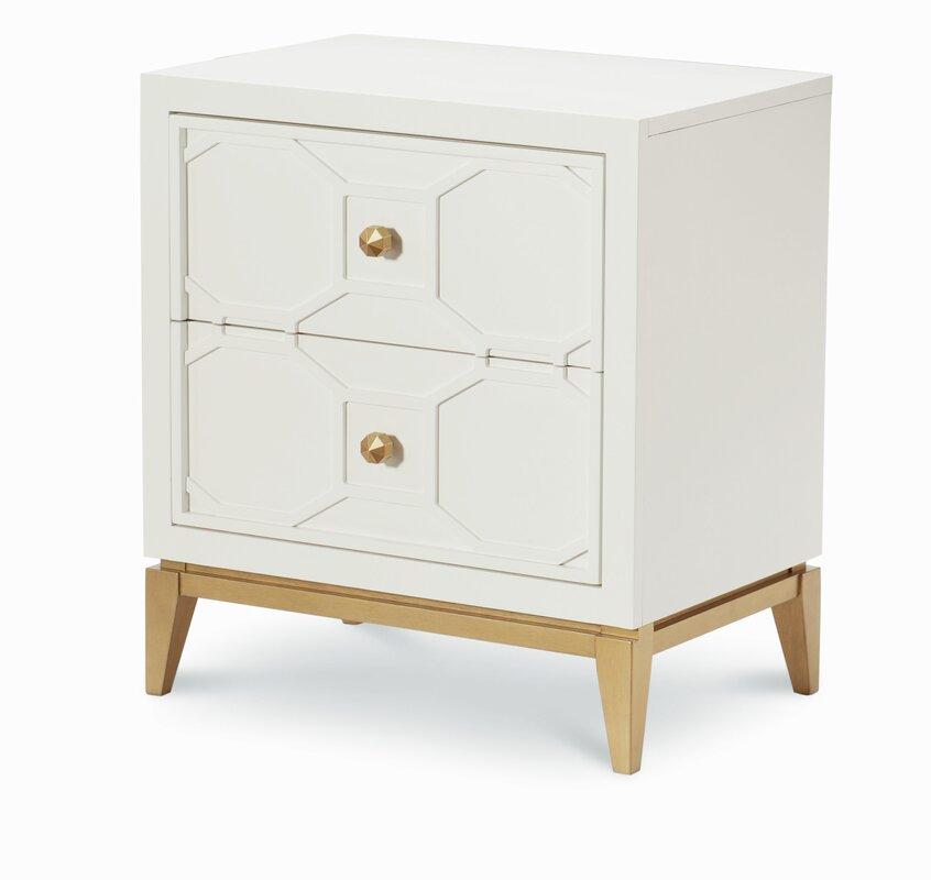 2 Drawer Nightstand With Decorative Lattice