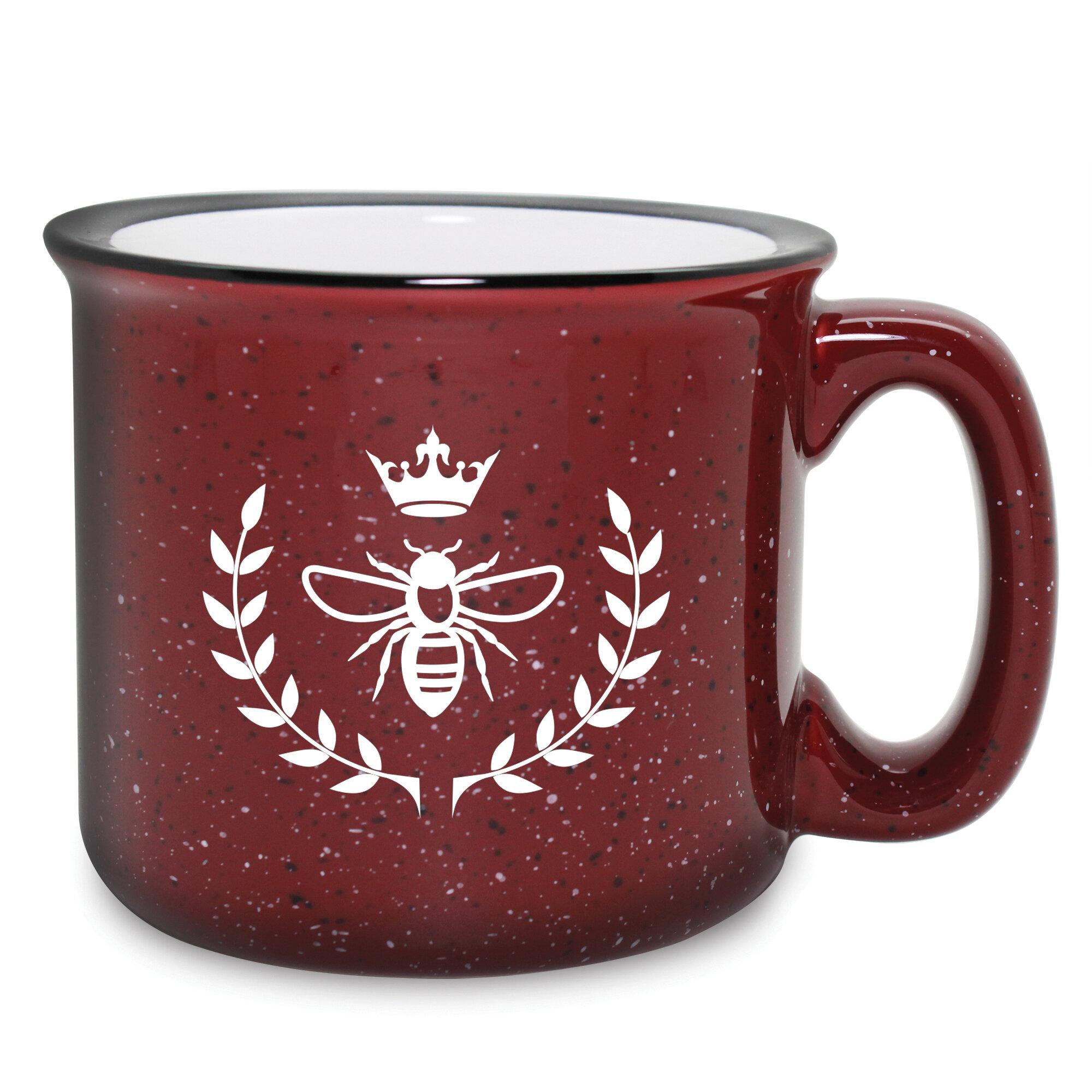 Set of 4 Mint Green 15oz Vintage Enamel-Look Ceramic Tea Coffee Latte Mugs