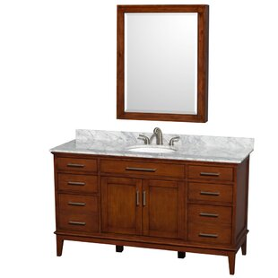 Hatton 60 Single Light Chestnut Bathroom Vanity Set with Medicine Cabinet By Wyndham Collection