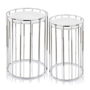 Savings Mervela Marble 2 Piece Nesting Tables by Orren Ellis