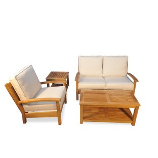 Teak 4 Piece Sunbrella Sofa Set with Cushions
