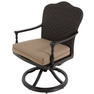 Bungalow Swivel Patio Dining Chair with Cushion (Set of 2)