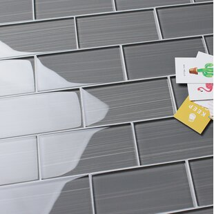Hand Painted Series 3 X 6 Gl Mosaic Tile In Gray