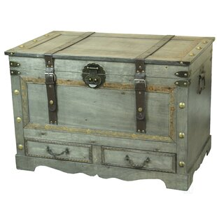 Best Reviews Nunley Rustic Large Wooden Coffee Table Trunk by Williston Forge