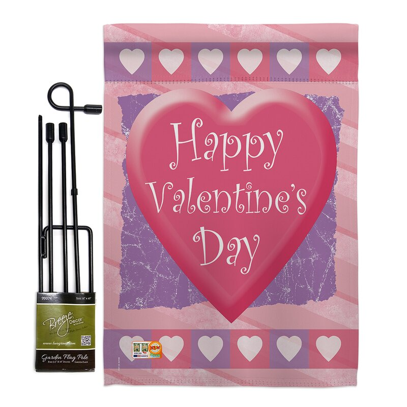 NEW Valentine/'s Day LOVE Pink Rose Mini Suede Fabric Flag