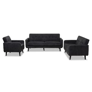 Doty Mid Century Modern Upholstered 3 Piece Living Room Set
