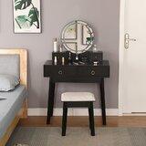 Vanity Set With Screen Dimming Mirror Dressing Table Vanity Makeup Table by Corrigan Studio®