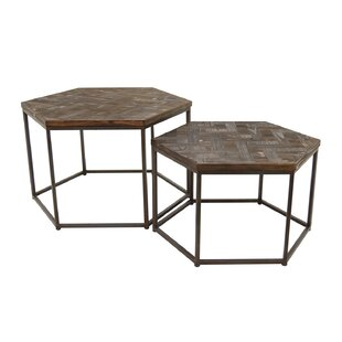 Compare Sasser Wood/Metal 2 Piece Nesting Tables by Foundry Select