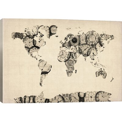 East Urban Home Map Of The World From Old Clocks Graphic