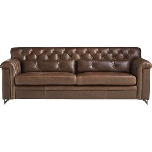 Shop Ilario Leather Sofa by 17 Stories