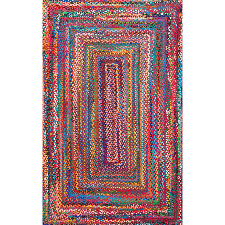 Waterford Handmade Braided Cotton Multicolor Area Rug - vibrant red blue pink yellow orange area rug. #arearugs