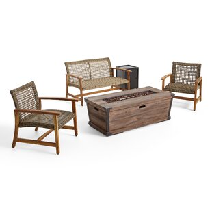 Verna Outdoor Wood and Wicker Chat 4 Piece Sofa Seating Group Set by Bungalow Rose